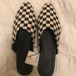 Urban outfitters black and white checkered mules